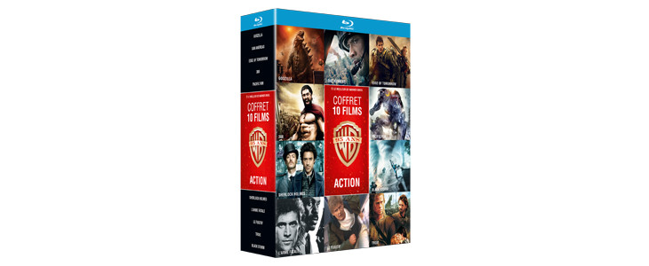 Coffret 10 films d'action Warner - Godzilla - San Andreas - Edge of Tomorrow - 300 - Pacific Rim - Sherlock Holmes - L'Arme Fatale - Le Fugitif - Troie - Black Storm
