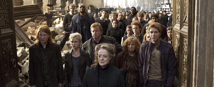 Bill Weasley et sa famille pendant la Bataille de Poudlard