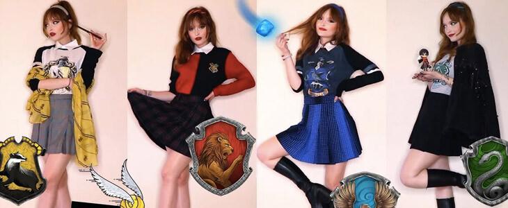 La Youtubeuse Estelle Fitz présente des tenues aux couleurs des quatre maisons de Poudlard.