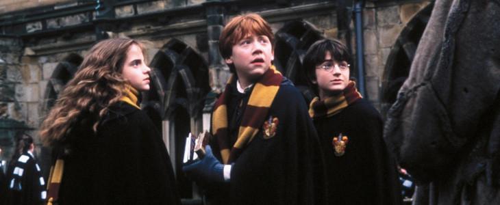 Dans Harry Potter à l'école des sorciers, les trois élèves de Gryffondor mènent l'enquête sur la pierre philosophale.